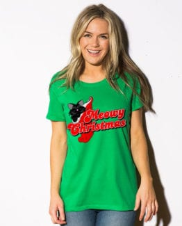 Meowy Christmas Graphic T-Shirt - green shirt design on a model