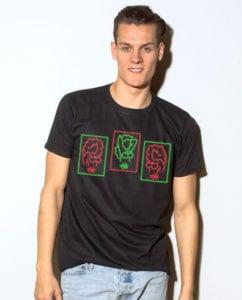HO HO HO Neon - Graphic T-Shirt - black shirt design on a model