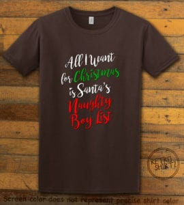 All I Want For Christmas Is Santa's Naughty Boy List Graphic T-Shirt - brown shirt design