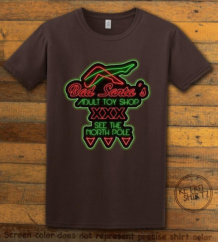 Bad Santa's Adult Toy Shop Graphic T-Shirt - brown shirt design