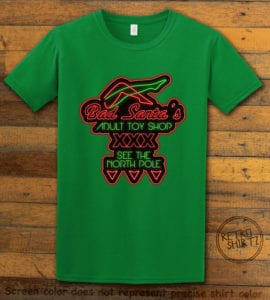 Bad Santa's Adult Toy Shop Graphic T-Shirt - green shirt design