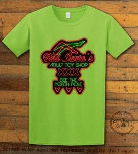 Bad Santa's Adult Toy Shop Graphic T-Shirt - lime shirt design