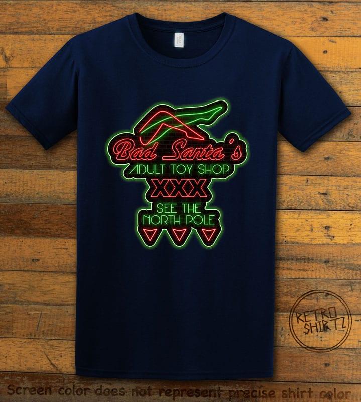 Bad Santa's Adult Toy Shop Graphic T-Shirt - navy shirt design