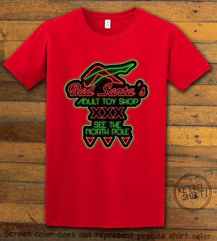 Bad Santa's Adult Toy Shop Graphic T-Shirt - red design