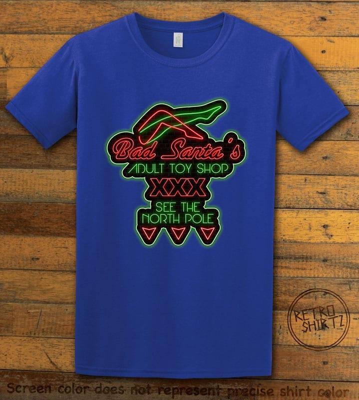 Bad Santa's Adult Toy Shop Graphic T-Shirt - royal shirt design