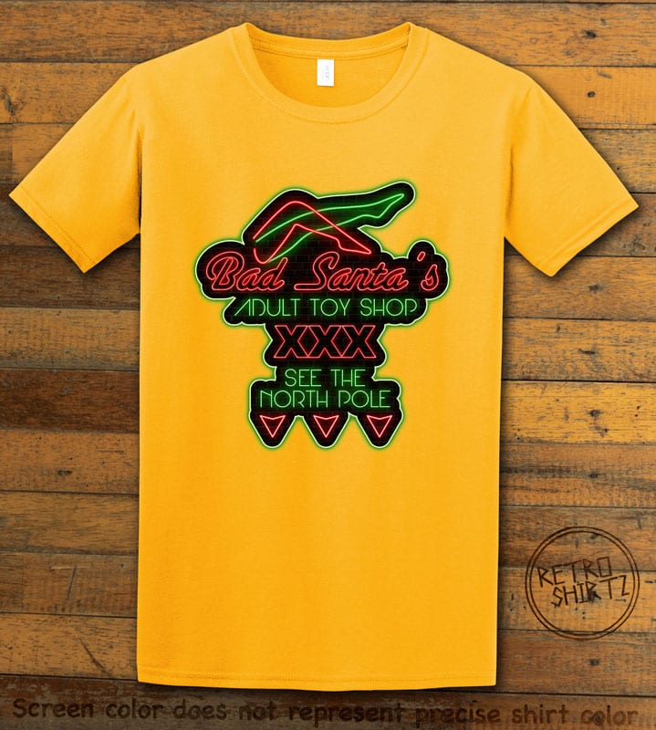 Bad Santa's Adult Toy Shop Graphic T-Shirt - yellow shirt design
