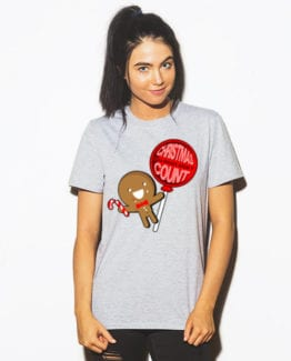 Christmas Calories Don't Count Graphic T-Shirt - grey shirt design on a model