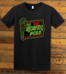 The North Pole Neon Sign Graphic T-Shirt - black shirt design