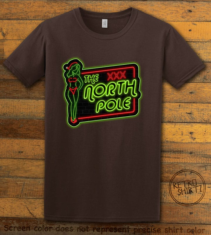 The North Pole Neon Sign Graphic T-Shirt - brown shirt design