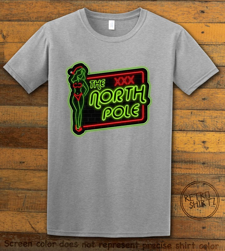 The North Pole Neon Sign Graphic T-Shirt - grey shirt design