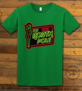 The North Pole Neon Sign Graphic T-Shirt - green shirt design