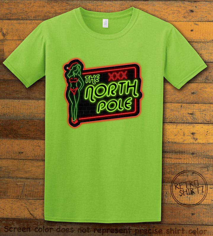 The North Pole Neon Sign Graphic T-Shirt - lime shirt design