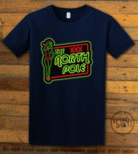 The North Pole Neon Sign Graphic T-Shirt - navy shirt design