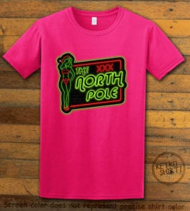 The North Pole Neon Sign Graphic T-Shirt - pink shirt design