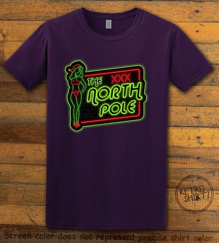 The North Pole Neon Sign Graphic T-Shirt - purple shirt design