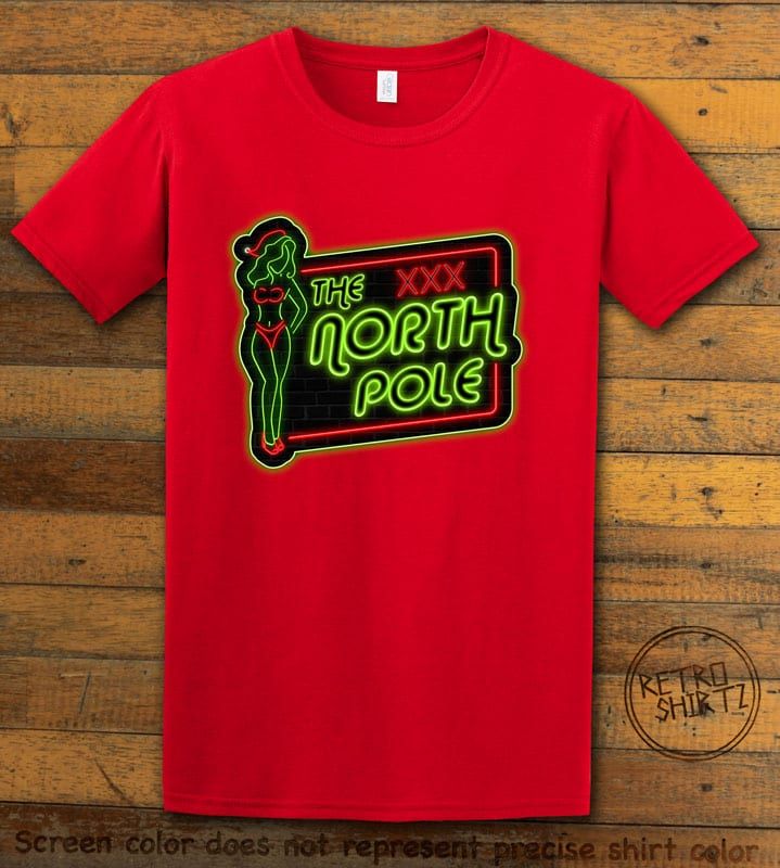 The North Pole Neon Sign Graphic T-Shirt - red shirt design