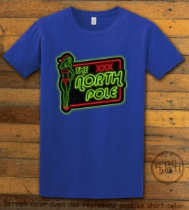 The North Pole Neon Sign Graphic T-Shirt - royal shirt design