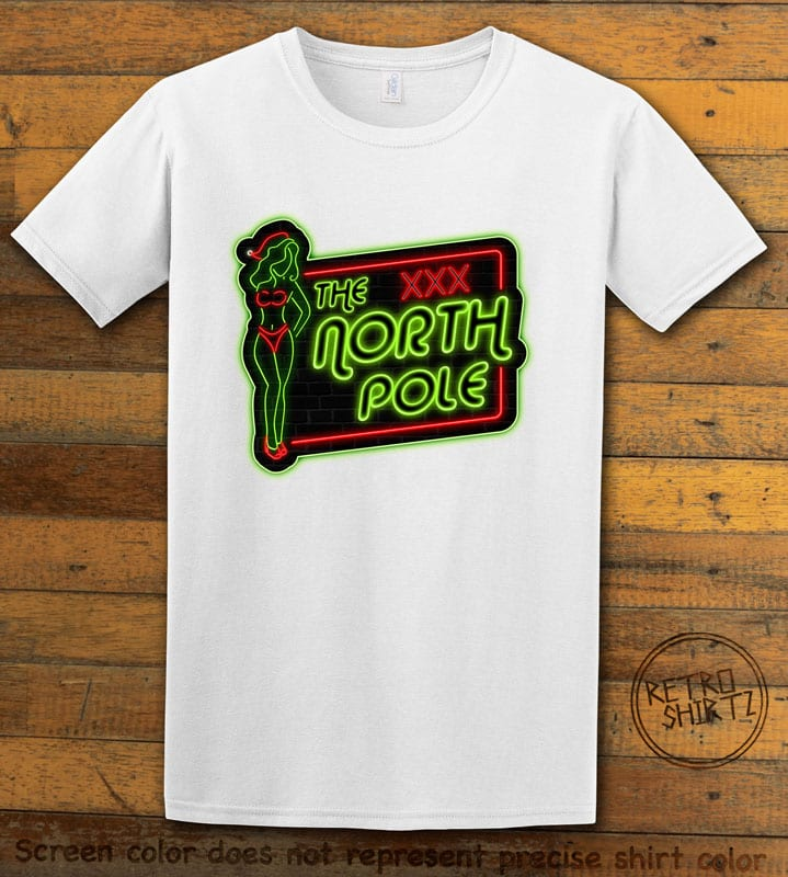The North Pole Neon Sign Graphic T-Shirt - white shirt design