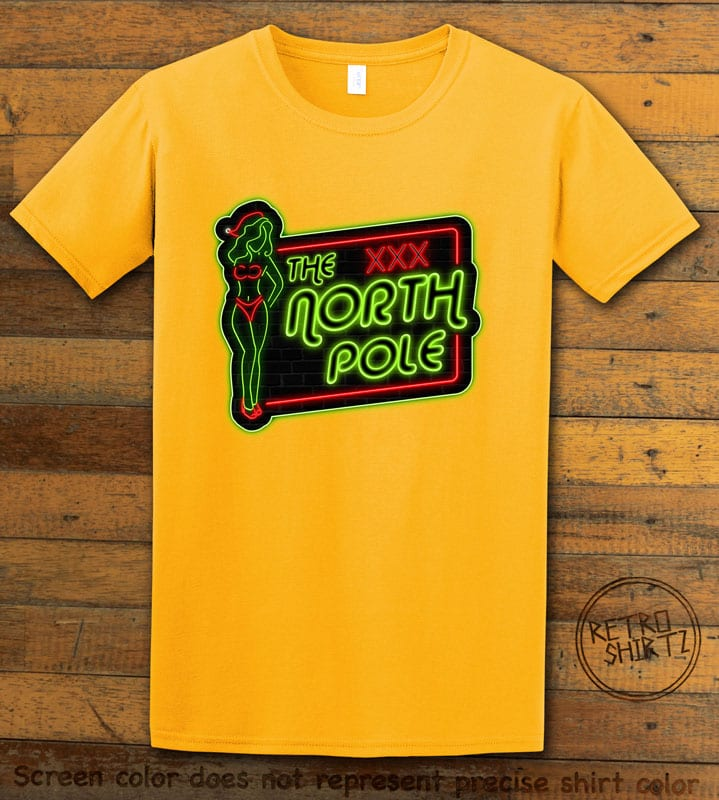 The North Pole Neon Sign Graphic T-Shirt - yellow shirt design