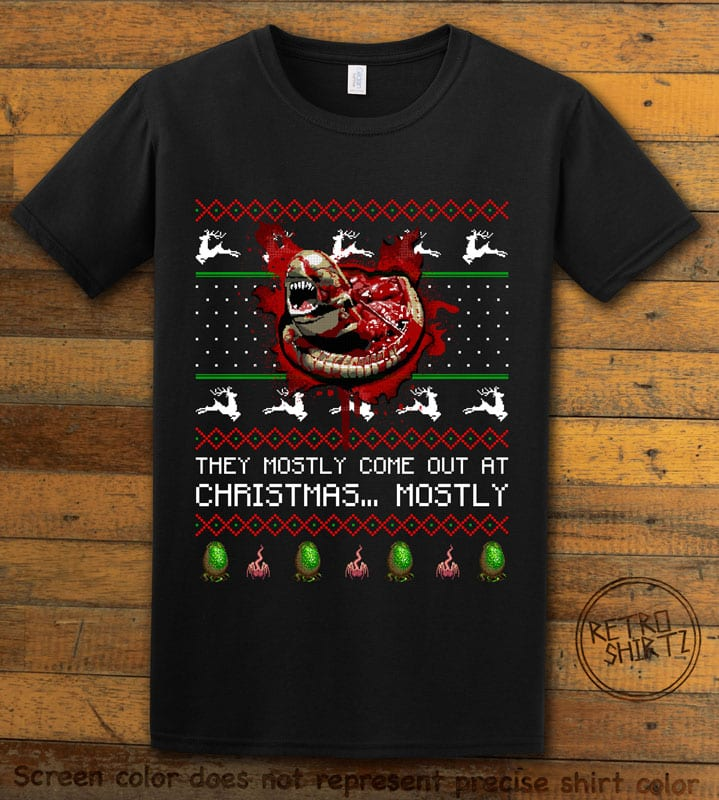 They Mostly Come Out At Christmas Graphic T-Shirt - black shirt design