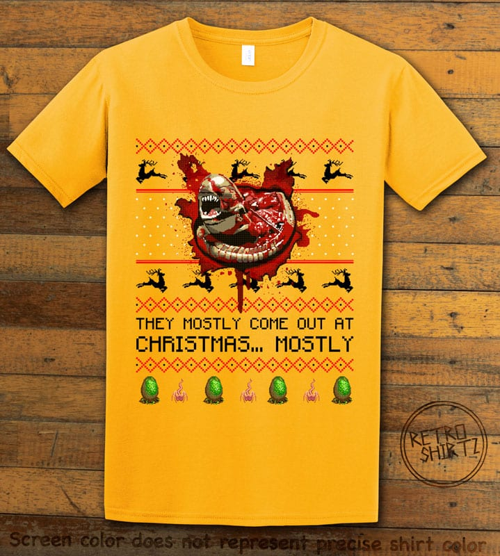 They Mostly Come Out At Christmas Graphic T-Shirt - yellow shirt design