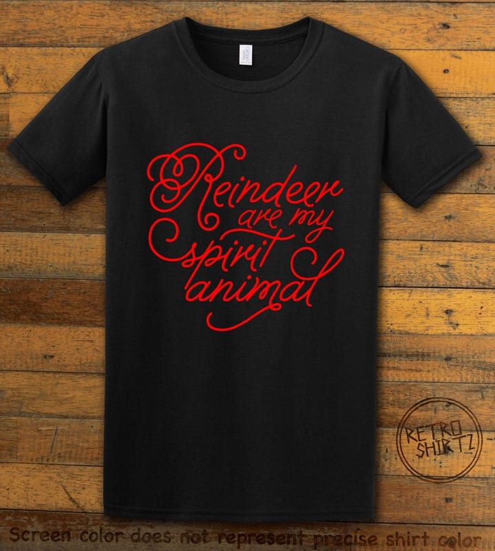 Reindeer Are My Spirit Animal Cursive Graphic T-Shirt- black shirt design