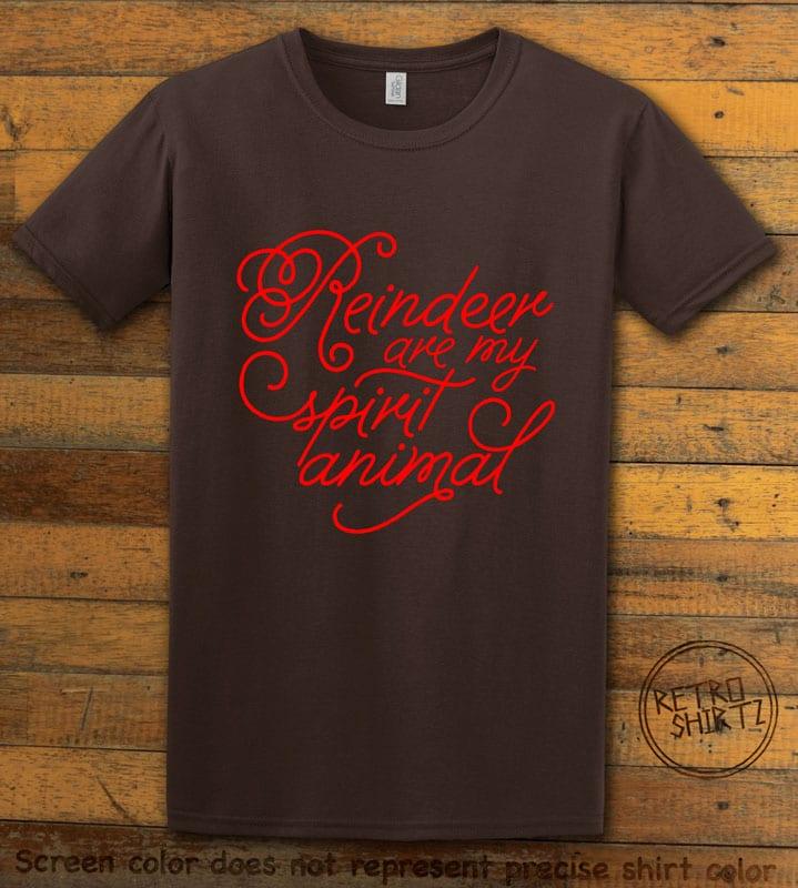 Reindeer Are My Spirit Animal Cursive Graphic T-Shirt- brown shirt design