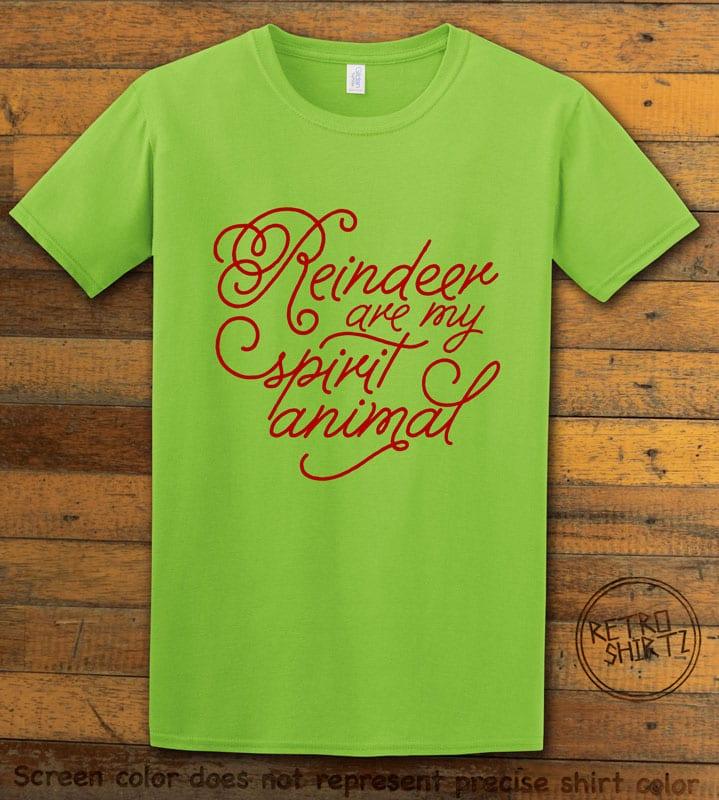 Reindeer Are My Spirit Animal Cursive Graphic T-Shirt- lime shirt design
