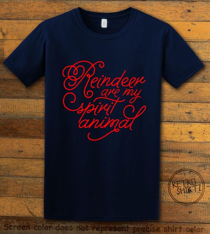 Reindeer Are My Spirit Animal Cursive Graphic T-Shirt- navy shirt design