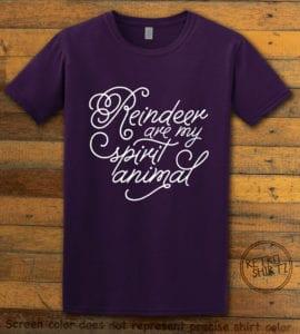 Reindeer Are My Spirit Animal Cursive Graphic T-Shirt- purple shirt design