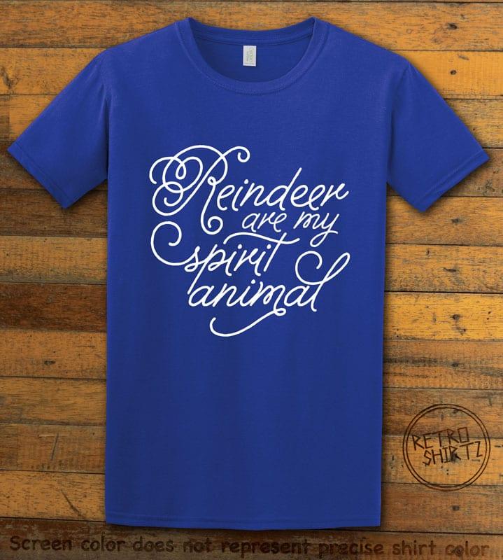 Reindeer Are My Spirit Animal Cursive Graphic T-Shirt- royal shirt design