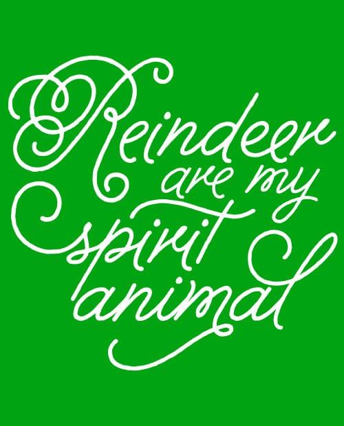 Reindeer Are My Spirit Animal Cursive Graphic T-Shirt- green shirt design