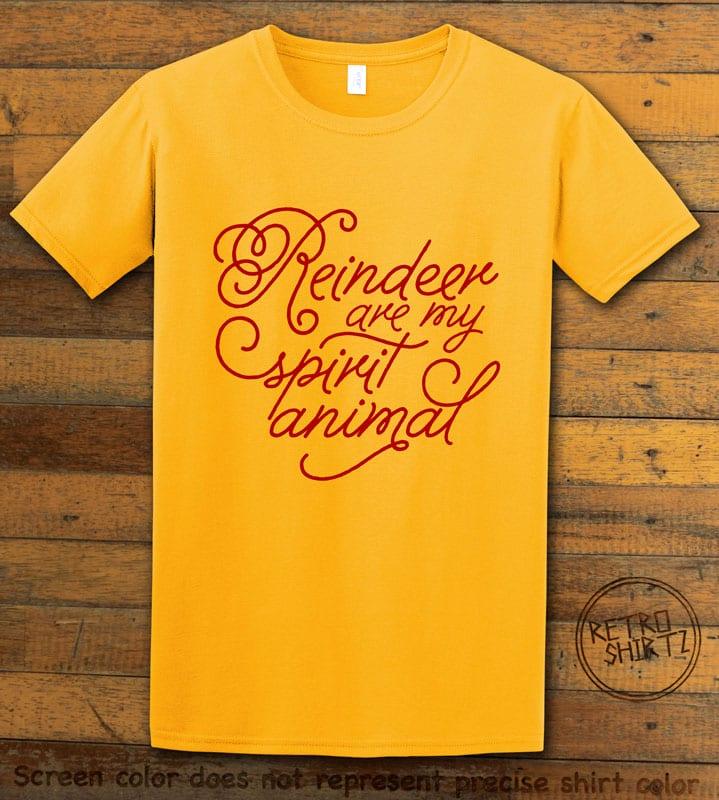 Reindeer Are My Spirit Animal Cursive Graphic T-Shirt- yellow shirt design