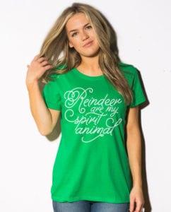 Reindeer Are My Spirit Animal Cursive Graphic T-Shirt - green shirt design on a model