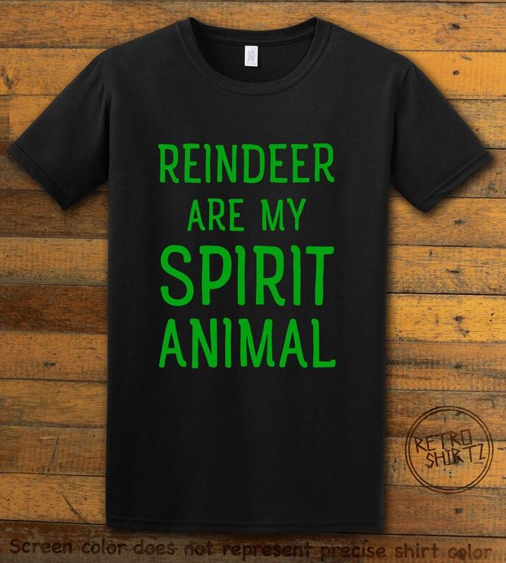 Reindeer Are My Spirit Animal Graphic T-Shirt - black shirt design