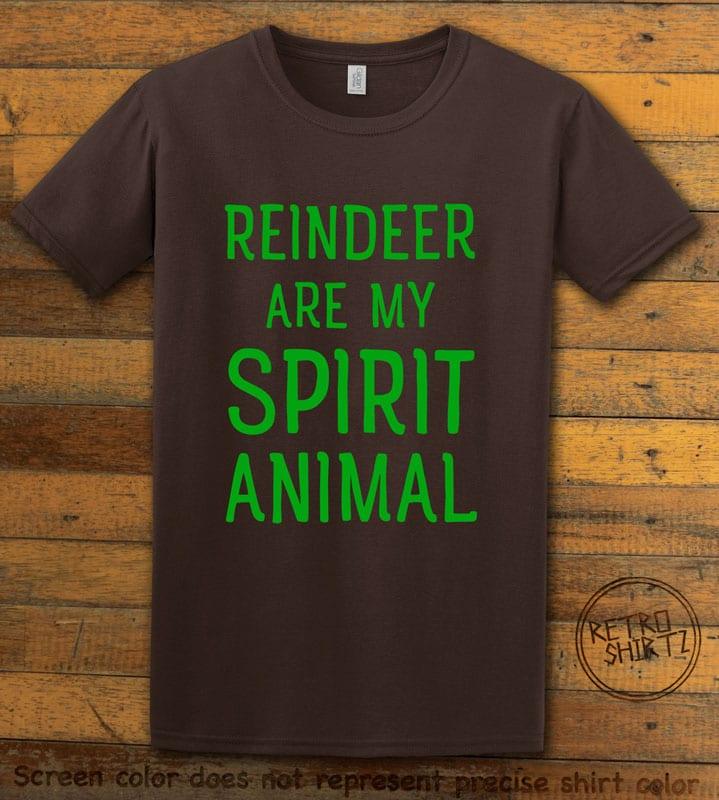 Reindeer Are My Spirit Animal Graphic T-Shirt - brown shirt design