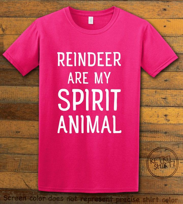 Reindeer Are My Spirit Animal Graphic T-Shirt - pink shirt design