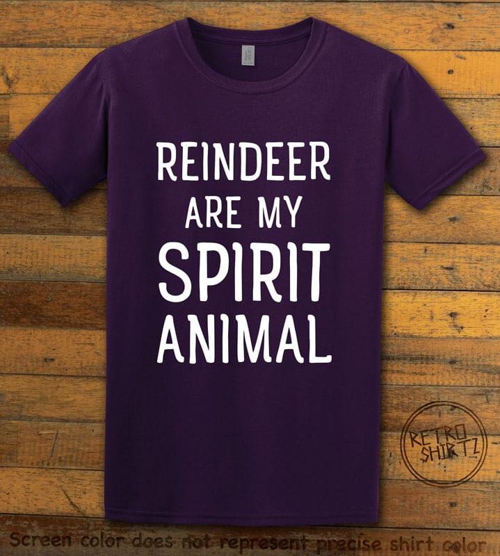 Reindeer Are My Spirit Animal Graphic T-Shirt - purple shirt design