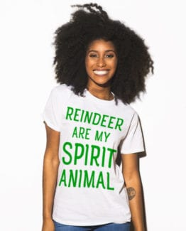 Reindeer Are My Spirit Animal Graphic T-Shirt - white shirt design on a model