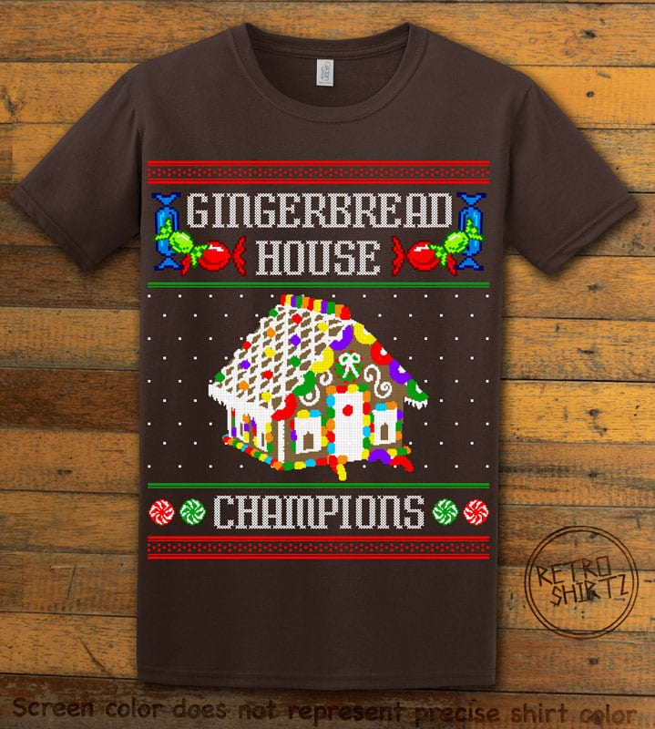 Gingerbread House Champions Graphic T-Shirt - brown shirt design