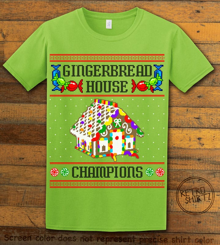 Gingerbread House Champions Graphic T-Shirt - lime shirt design
