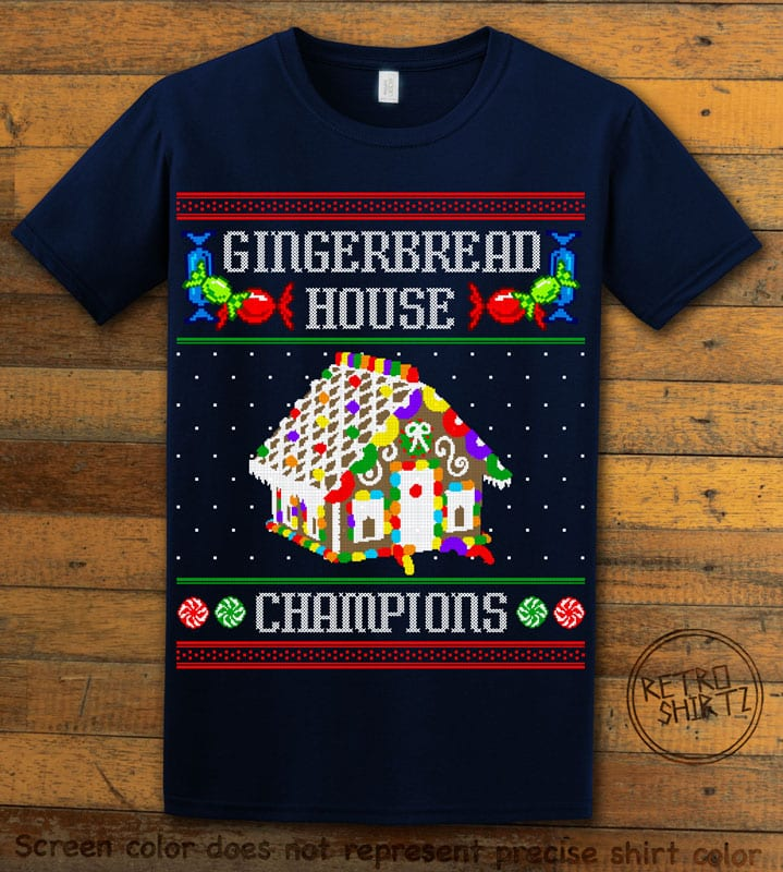Gingerbread House Champions Graphic T-Shirt - navy shirt design