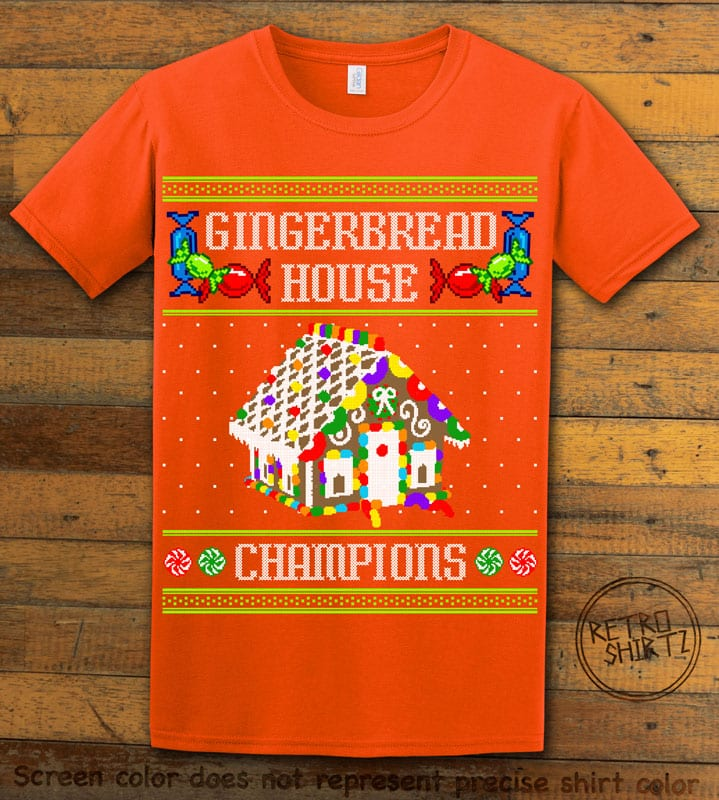 Gingerbread House Champions Graphic T-Shirt - orange shirt design