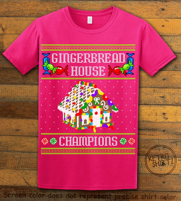 Gingerbread House Champions Graphic T-Shirt - pink shirt design