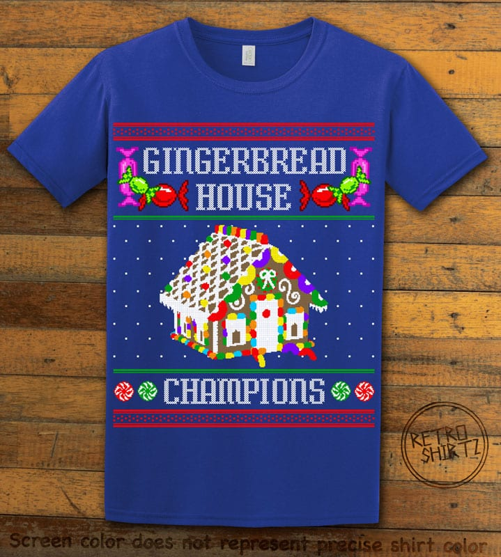 Gingerbread House Champions Graphic T-Shirt - royal shirt design
