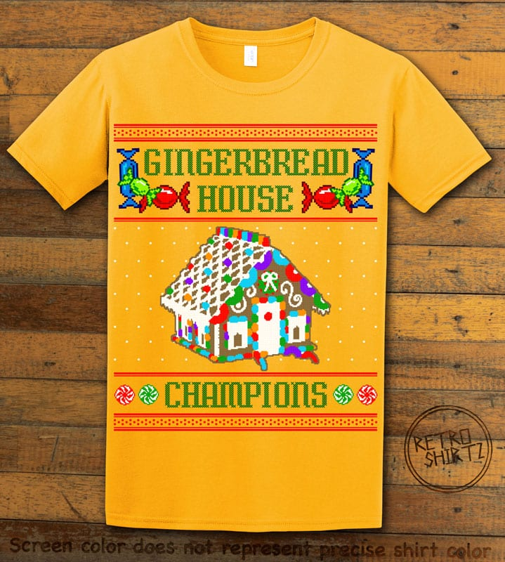Gingerbread House Champions Graphic T-Shirt - yellow shirt design