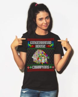 Gingerbread House Champions Graphic T-Shirt - black shirt design on a model