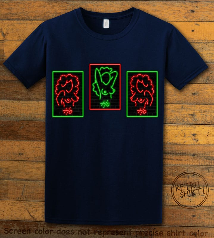 HO HO HO Neon Nude Graphic T-Shirt - navy shirt design