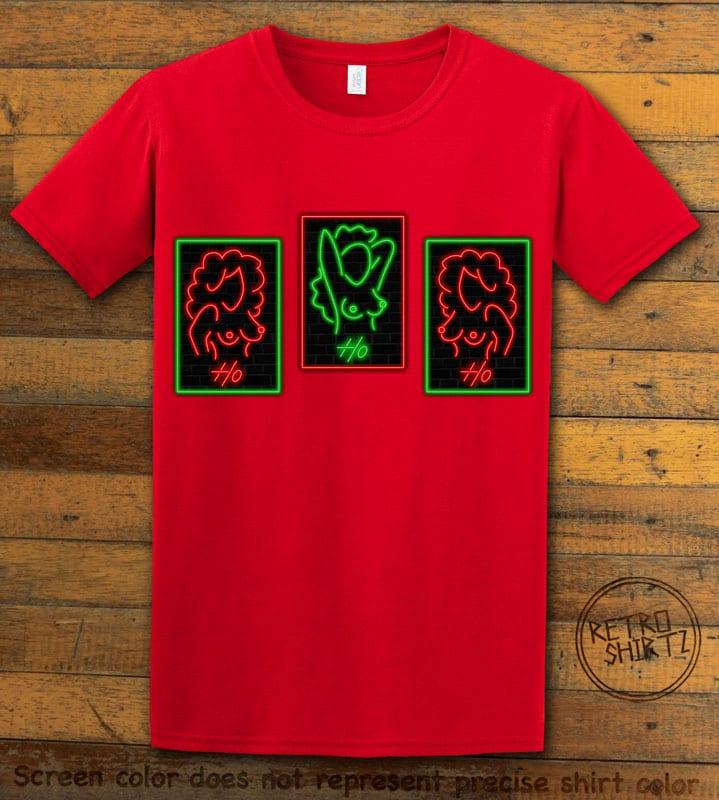 HO HO HO Neon Nude Graphic T-Shirt - red shirt design