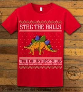 Steg The Halls Graphic T-Shirt - red shirt design
